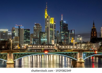 The skyline of Frankfurt at night at a cold day in winter.