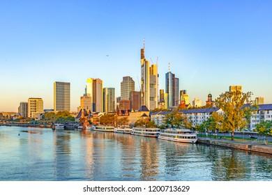 skyline of Frankfurt with river main in sunrise