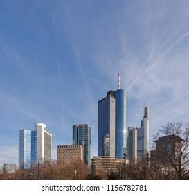 skyline of frankfurt with skyscraper
