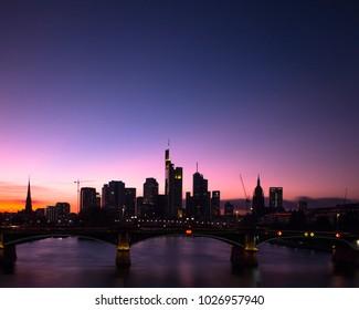 Skyline Frankfurt at Sunset/ Night
