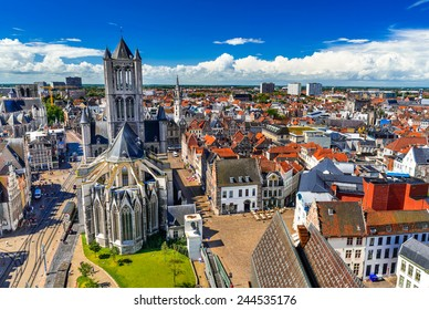Skyline of Gent, Ghent in West Flanders, Belgium, seen from Belfort tower with St. Nicholas Church.