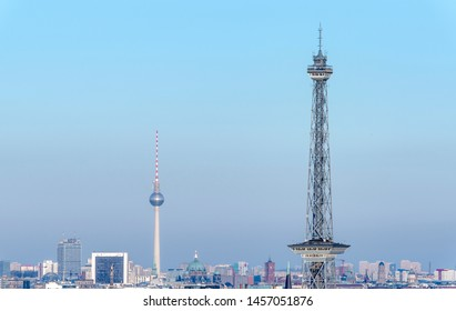 Skyline of the German capital city Berlin with television tower Alex and radio tower
