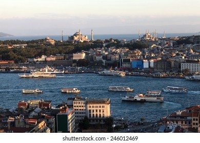 Skyline of Golden Horn from Galata tower in Istanbul, Turkey