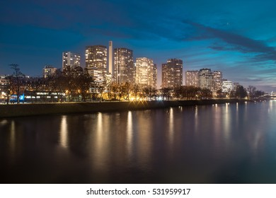 Skyline of the Grenelle Block at night. Grenelle is a neighborhood in southwestern Paris, France. It is a part of the 15th arrondissement of the city.