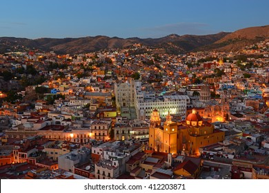 The skyline of Guanajuato during the blue hour, Mexico.
