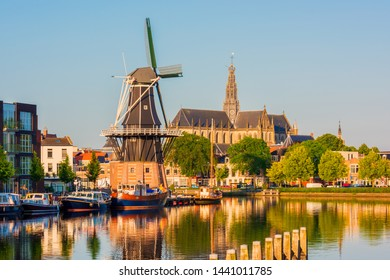 Skyline of Haarlem Netherlands with Windmill and Church