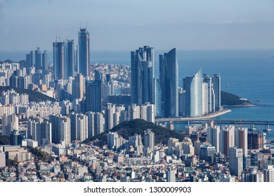 Skyline in Haeundae District in Pusan, Korea