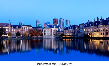 Skyline Of The Hague Den Haag with the buildings of the Binnenhof Palace, Mauritshuis Museum and modern office towers.