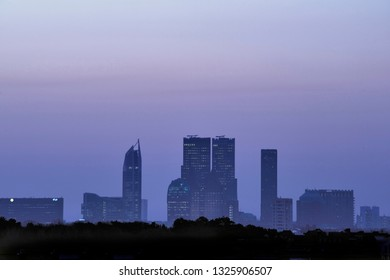 Skyline of the Hague, Den Haag, in Holland at the blue hour