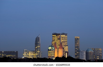 Skyline of the Hague, Den Haag, The Netherlands with Skyscrapers at night
