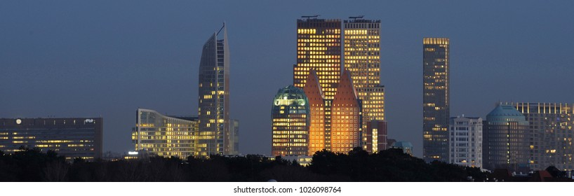 Skyline of the Hague, Den Haag, with Skyscrapers at night