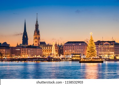 Skyline of Hamburg, Germany with Christmas market decorations