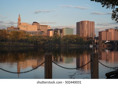 Skyline of Hartford, Connecticut in early morning.