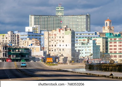 The skyline of Havana and the famous Malecon seawall