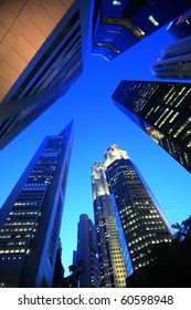 skyline of highrise buildings at Singapore
