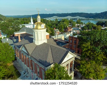 The skyline of historic Madison, Indiana, along the Ohio River in southern Indiana. The view is marked by an historic Courthouse and the Madison-Milton Bridge connecting Madison to Milton, Kentucky.
