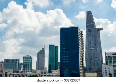 Skyline of Ho Chi Minh City, Vietnam including the city's tallest building Bitexco Financial Tower.