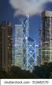 Skyline of Hong Kong City at dusk