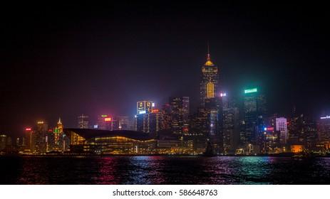 Skyline of Hong Kong Island at night, December 14th, 2016