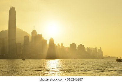 Skyline of Hong Kong sunset at Victoria Harbor.