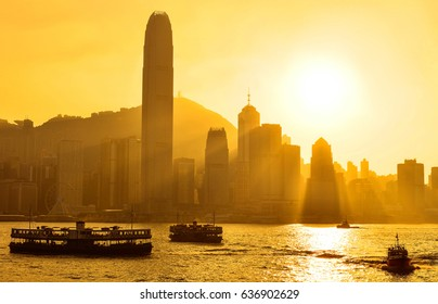 Skyline of Hong Kong sunset at Victoria Harbor