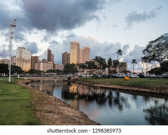 Skyline of Honolulu at Sunset from Ala Moana Beach Park