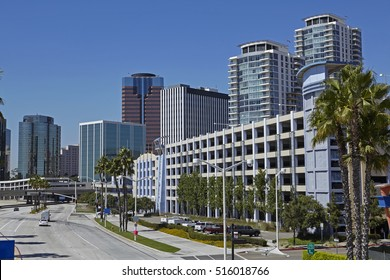 Skyline of hotels, skyscrapers and offices on shoreline of Long beach, California