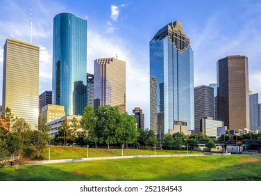 skyline of houston in bright sunset