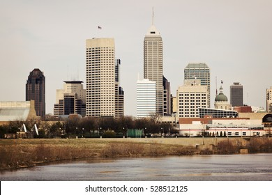 Skyline of Indianapolis, Indiana. Distant view.