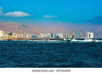 Skyline of Iquique viewed from the ocean