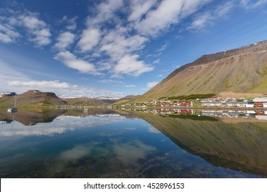 The skyline of Isafjordur Iceland
