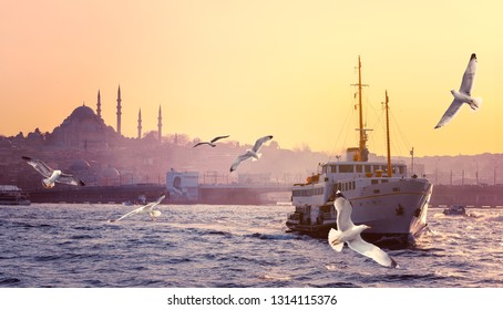Skyline of Istanbul at sunset with silhouettes of Suleymaniye mosque and flying seagulls over the Galata Bridge. Cityscape of Golden Horn with old ferry boat on Karakoy mooring station.