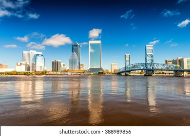 Skyline of Jacksonville against the sky, Florida.