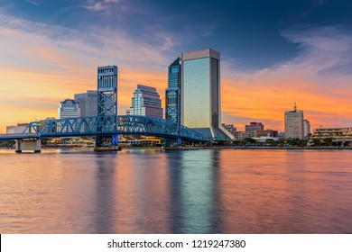 Skyline of Jacksonville, FL and Main Street Bridge at Sunset