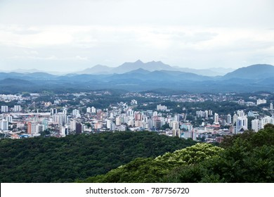 Skyline of Joinville, a city on the south area of Brazil, at Santa Catarina State, in a cloudy day.