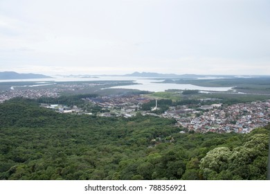Skyline of Joinville, a city on the south area of Brazil, at Santa Catarina State, in a cloudy day. Aerial view.