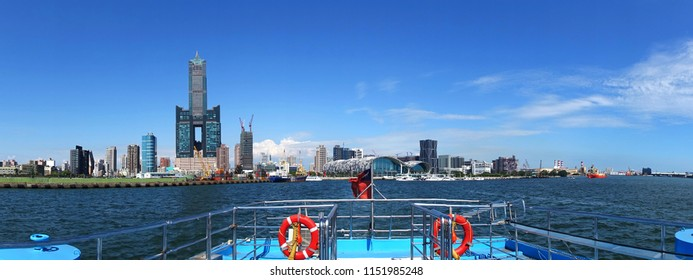 The skyline of Kaohsiung City in Taiwan seen from the harbor