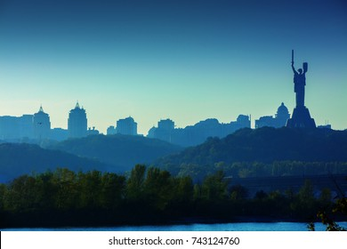 Skyline, Kiev city in the evening. Right bank of the Dnieper River