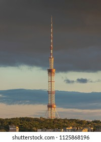 Skyline of Kiev with TV tower at sunset