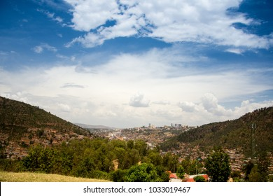 Skyline of Kigali, the capital city of Rwanda, from a distant hillside outside of the community.