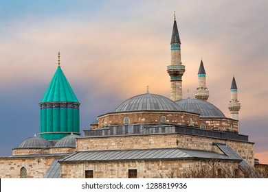 Skyline of Konya with the green dome of the Mausoleum of Mevlana Rumi and Selimiye Mosque, Konya, Turkey.