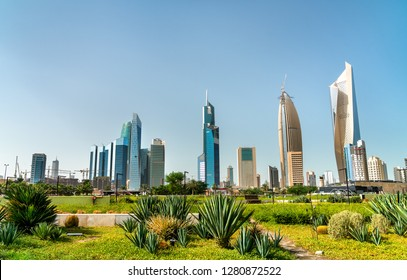 Skyline of Kuwait City at Al Shaheed Park. The Middle East