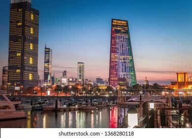 Skyline of Kuwait City at evening. Kuwait City, Kuwait.