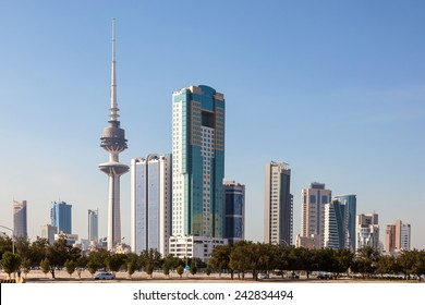 Skyline of Kuwait Downtown with Liberation Tower