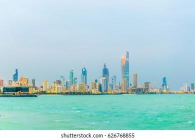 Skyline of Kuwait during sunset