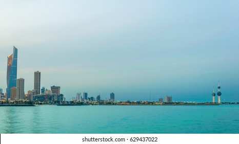 Skyline of Kuwait with the Kuwait towers during sunset