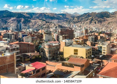 skyline of La Paz in Bolivia with the Andes in Background
