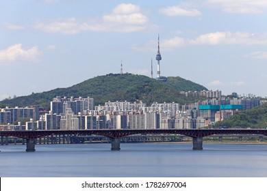 Skyline Landscape of the Han River and Namsan Mountain - Seoul, Korea