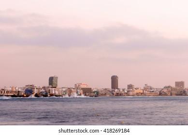 Skyline of Las Palmas de Gran Canaria city in the area of Las Canteras Beach