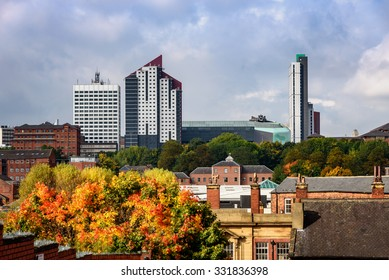 Skyline of Leeds city with old and new building in autumn season.